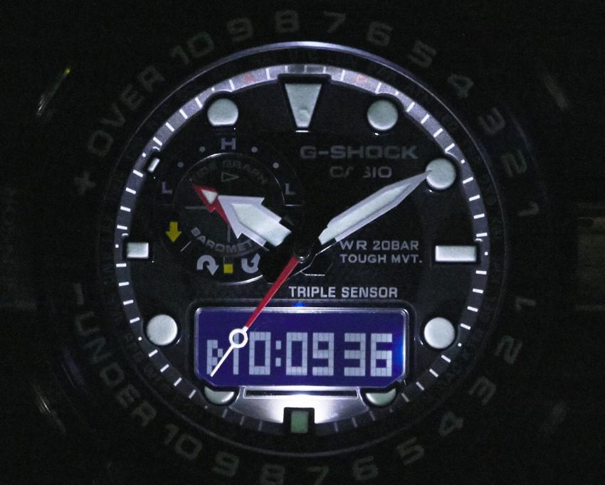 Работа подсветки G-Shock GWN-1000B-1B
